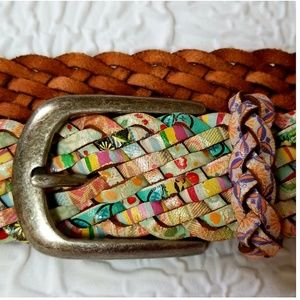 Fossil colorful braided leather belt